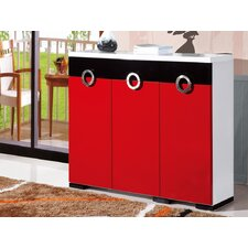 3 Door Shoe Cabinet in Red