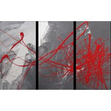 3 Piece Abstract Canvas Painting in Red and Grey