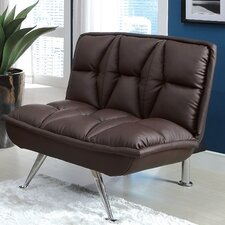 Leland Leathrette Convertible Chair and Ottoman