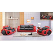 Hematite 3 Piece Leather Sofa Set
