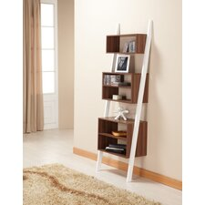 Mateo Bookcase/Display Stand in Matte Walnut and White