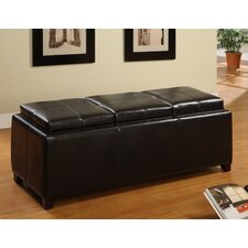 Norwich Leatherette 3-Flip Trays Ottoman Bench
