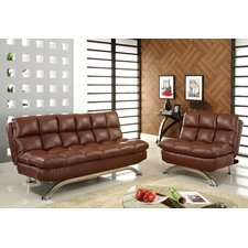 Aristo Bi-Cast Leather Convertible Sofa and Chair Set