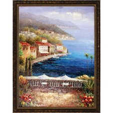 Mediterranean Coffee Central Hand Painted Oil Canvas Art with Frame
