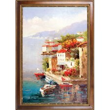 Busy Marina Hand Painted Oil Canvas Art with Frame