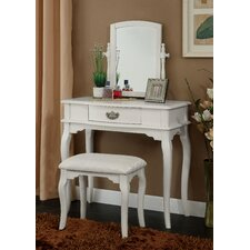 Coreen Vanity Set with Mirror and Stool