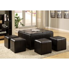5 Piece Verano Leather Coffee Table Ottoman Set