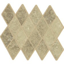 "Lunar Rhomboid 12"" x 9.75"" Mosaic Tile Accent in Beige"