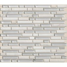 "Mixed Up 12"" x 12"" Random Linear Mosaic Stone Accent Tile in Snow Peak"