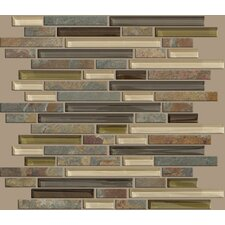 "Mixed Up 12"" x 12"" Random Linear Mosaic Slate Accent Tile in Spring Valley"