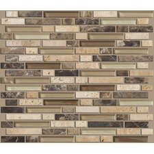 "Mixed Up 12"" x 12"" Random Linear Mosaic Stone Accent Tile in River Bed"