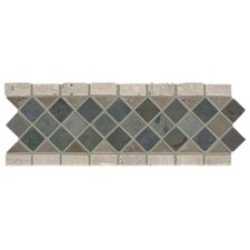 "Slate Diamond Listello 12"" x 4"" Tile Accent"