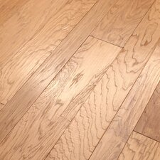Hudson Bay Mixed Width Engineered Handscraped Hickory Flooring in Raw Silk