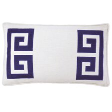Parenthetikey Embroidered Greek Key Lumbar Throw Pillow