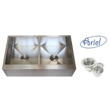 "Ariel 36"" x 21"" Stainless Steel 50/50 Double Bowl Farmhouse Kitchen Sink"