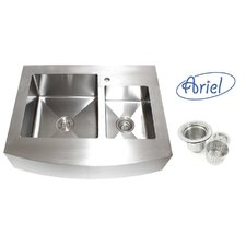 "Ariel 36"" x 26.25"" Stainless Steel 60/40 Double Offset Bowl Farmhouse Kitchen Sink"
