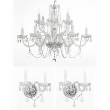 3 Piece Crystal Chandelier and Wall Sconces Lighting Set