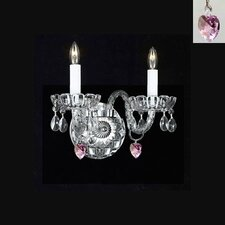 Murano Venetian Style Crystal Wall Sconce with Hearts