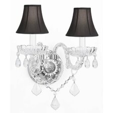 Murano Venetian Style Crystal Wall Sconce with Shades