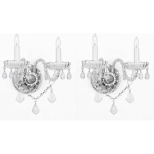 Murano Venetian Style Crystal Wall Sconces Lighting (Set of 2)