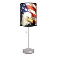 """Travel Eagle and Flag 20"""" H Table Lamp with Drum Shade"""