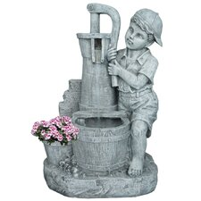 Resin and Fiberglass Boy Girl Fountain