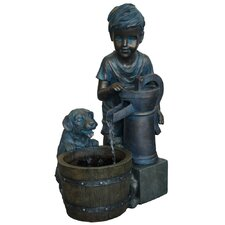 Resin and Fiberglass Boy with Puppy Fountain