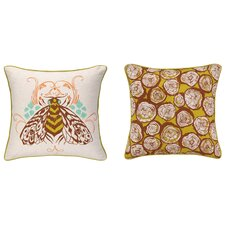 Bee Reversible Printed and Embroidered Pillow