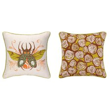 Insect Reversible Printed and Embroidered Pillow