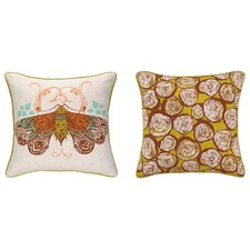 Moth Reversible Printed and Embroidered Pillow