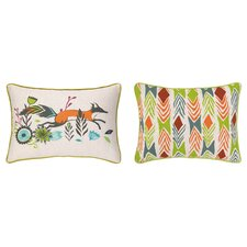 Running Fox Reversible Printed and Embroidered Pillow