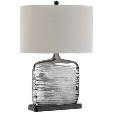 "Textured 25"" H Table Lamp with Oval Shade"