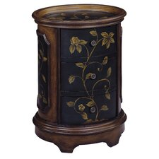 <strong>Stein World</strong> Delia Floral Oval Tray Top 3 Drawer Chest