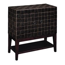 Woven Faux Leather Bar Cabinet