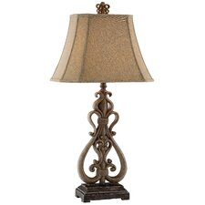 """Traditions Open Scroll 34.25"""" H Table Lamp with Bell Shade"""