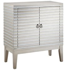 Gervais Mirrored Strips 2 Door Cabinet