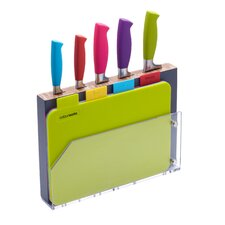 Colourworks 9 Piece Chopping Board & Knife Block Set