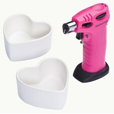 Cooks Blowtorch and Heart Shaped Ramekins Gift Set