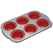 Master Class Smart Silicone 37cm x 22.5cm Rigid Support Six Hole Muffin Pan with Sleeved