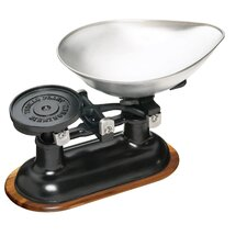 Natural Elements Cast Iron Scale with Body and Acacia Wood Stand in Black