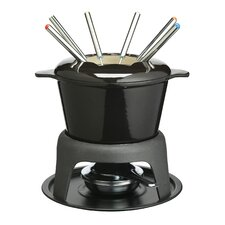 Master Class 8 Piece Cast Iron Enamelled Black Fondue Set