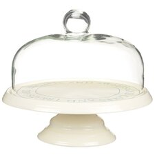 Classic Ceramic Cake Stand with Glass Dome