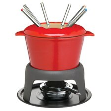 Master Class Cast Iron Enameled Fondue Gift Set in Red Gift Box