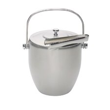 Bar Craft Ice Bucket with Lid and Tongs in Stainless Steel