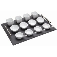 <strong>KitchenCraft</strong> Thirteen Pieces Appetiser Gift Set with Slate Tray Dishes and Spoons (Set of 2)