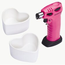 <strong>KitchenCraft</strong> Cooks Blowtorch and Heart Shaped Ramekins Gift Set