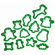 Let's Make Twelve Pieces Christmas Cookie Cutter Set with Storage Tub
