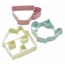 Sweetly Does It Cookie Cutter Set - Tea Party Patterned in Assorted Colours
