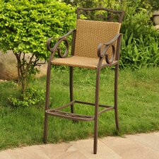 <strong>International Caravan</strong> Valencia Wicker Resin Bar Height Patio Bar Stool (Set of 2)