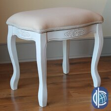 Windsor Hand Carved Antique White Vanity Stool